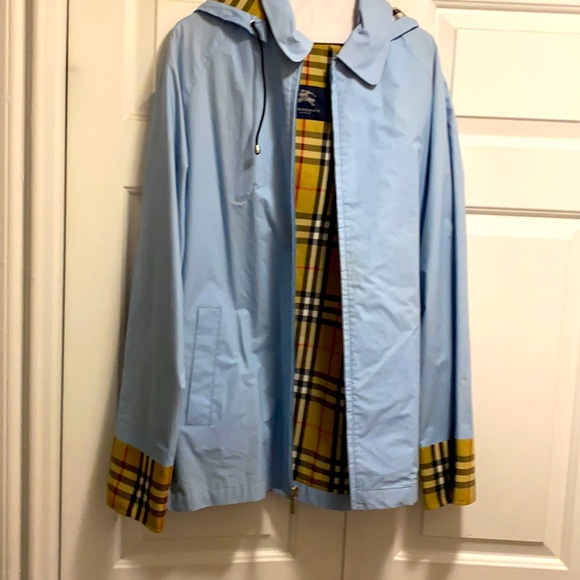 Burberry blue rain trench coat size large